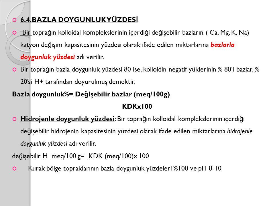 6.4.BAZLA DOYGUNLUK YÜZDES İ Bir topra ğ ın kolloidal komplekslerinin içerdi ğ i de ğ işebilir bazların ( Ca, Mg, K, Na) katyon de ğ işim kapasitesinin yüzdesi olarak ifade edilen miktarlarına bazlarla doygunluk yüzdesi adı verilir.