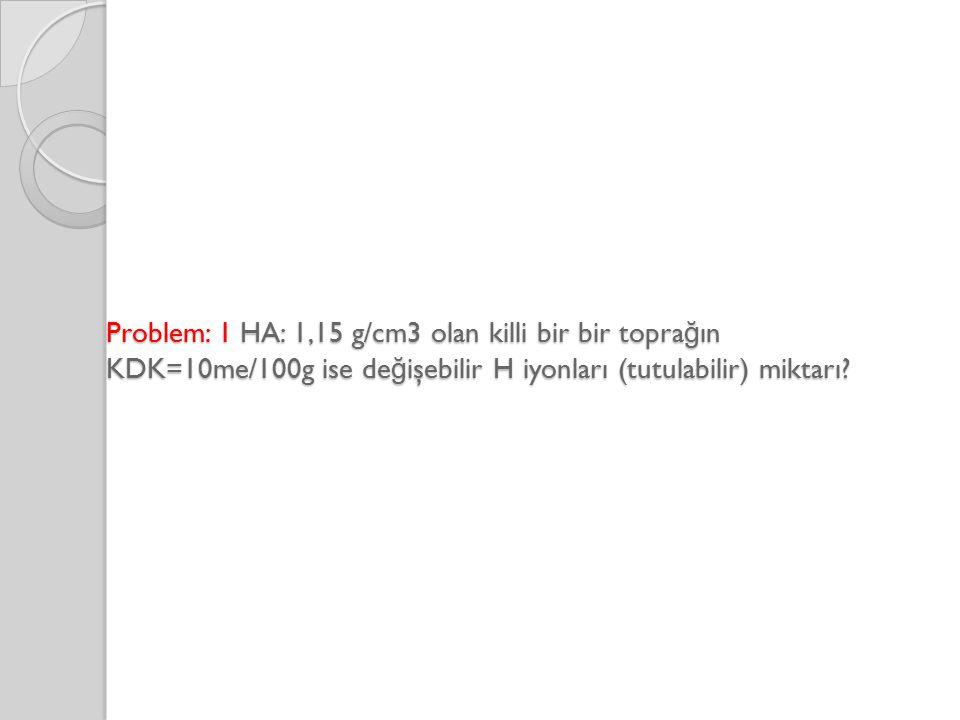 Problem: 1 HA: 1,15 g/cm3 olan killi bir bir topra ğ ın KDK=10me/100g ise de ğ işebilir H iyonları (tutulabilir) miktarı?