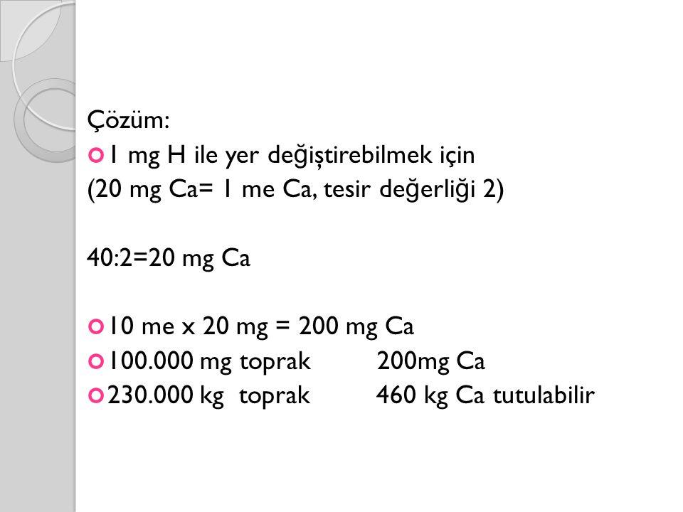 Çözüm: 1 mg H ile yer de ğ iştirebilmek için (20 mg Ca= 1 me Ca, tesir de ğ erli ğ i 2) 40:2=20 mg Ca 10 me x 20 mg = 200 mg Ca 100.000 mg toprak 200mg Ca 230.000 kg toprak 460 kg Ca tutulabilir