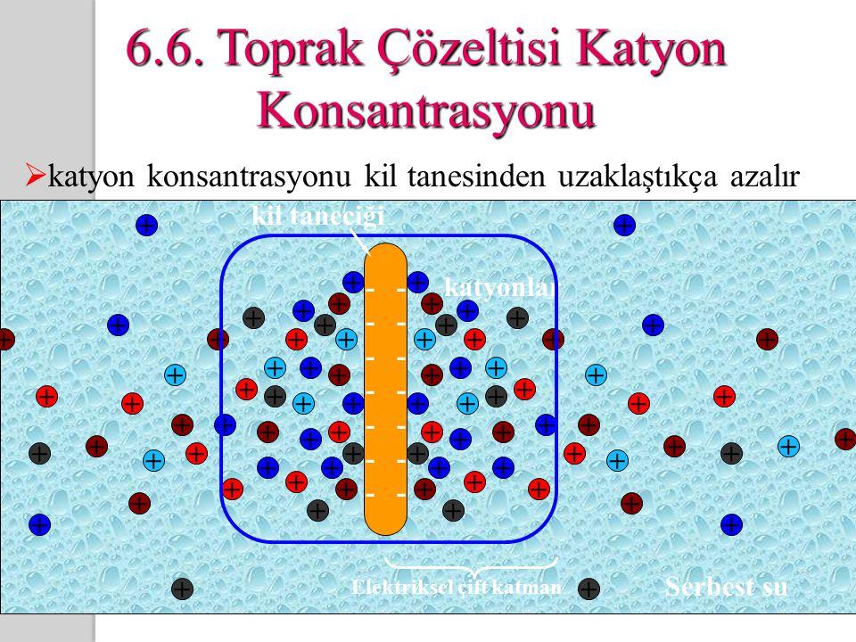 6.6. Toprak Çözeltisi Katyon Konsantrasyonu  katyon konsantrasyonu kil tanesinden uzaklaştıkça azalır + ++ + + + + + + + + + + + + + + + + + + + + +