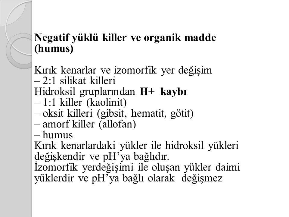 Negatif yüklü killer ve organik madde (humus) Kırık kenarlar ve izomorfik yer değişim – 2:1 silikat killeri Hidroksil gruplarından H+ kaybı – 1:1 kill