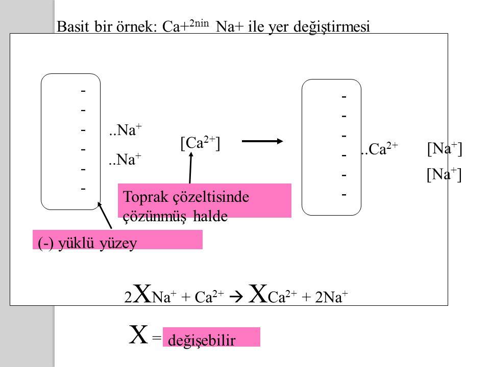 ------------..Na + Basit bir örnek: Ca+ 2nin Na+ ile yer değiştirmesi [Ca 2+ ] ------------..Ca 2+ [Na + ] 2 X Na + + Ca 2+  X Ca 2+ + 2Na + Negatively-charged clay Dissolved in soil solution X = exchangeable Toprak çözeltisinde çözünmüş halde (-) yüklü yüzey değişebilir