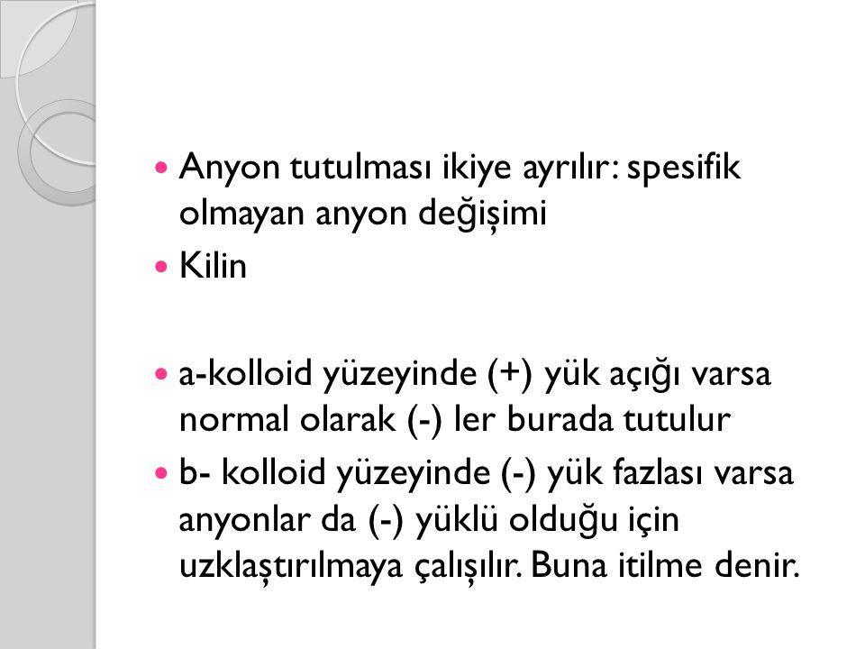 Anyon tutulması ikiye ayrılır: spesifik olmayan anyon de ğ işimi Kilin a-kolloid yüzeyinde (+) yük açı ğ ı varsa normal olarak (-) ler burada tutulur b- kolloid yüzeyinde (-) yük fazlası varsa anyonlar da (-) yüklü oldu ğ u için uzklaştırılmaya çalışılır.