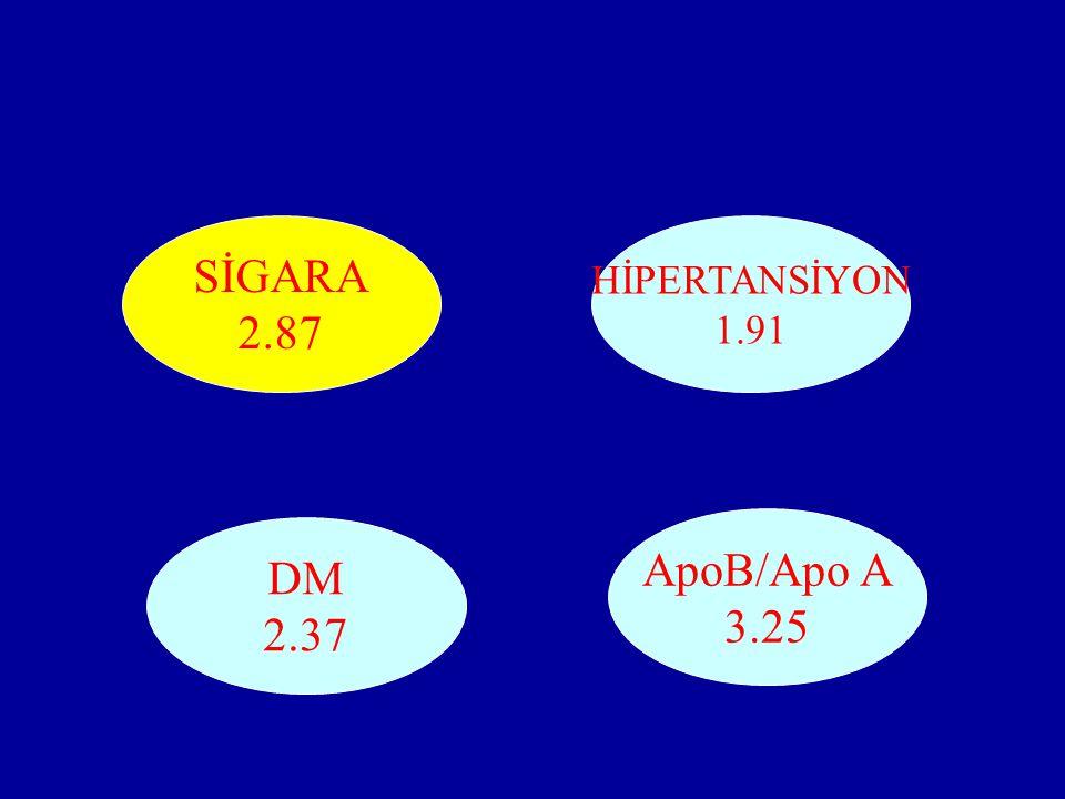 SİGARA 2.87 ApoB/Apo A 3.25 DM 2.37 HİPERTANSİYON 1.91