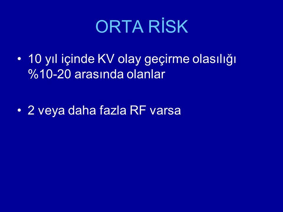 ORTA RİSK 10 yıl içinde KV olay geçirme olasılığı %10-20 arasında olanlar 2 veya daha fazla RF varsa