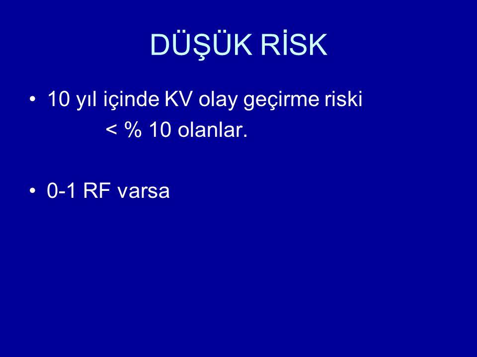 DÜŞÜK RİSK 10 yıl içinde KV olay geçirme riski < % 10 olanlar. 0-1 RF varsa