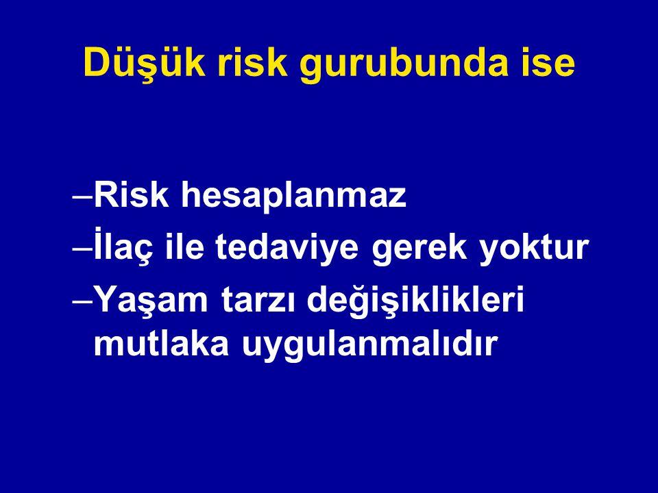 Düşük risk gurubunda ise –Risk hesaplanmaz –İlaç ile tedaviye gerek yoktur –Yaşam tarzı değişiklikleri mutlaka uygulanmalıdır