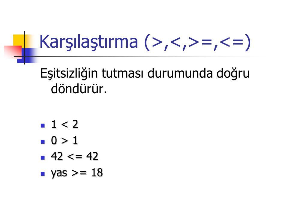 Karşılaştırma (>, =,<=) Eşitsizliğin tutması durumunda doğru döndürür. 1 < 2 1 < 2 0 > 1 0 > 1 42 <= 42 42 <= 42 yas >= 18 yas >= 18