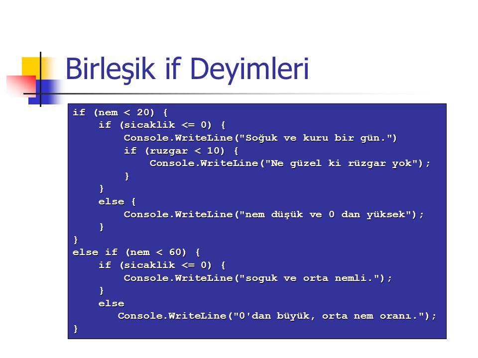 Birleşik if Deyimleri if (nem < 20) { if (sicaklik <= 0) { if (sicaklik <= 0) { Console.WriteLine(
