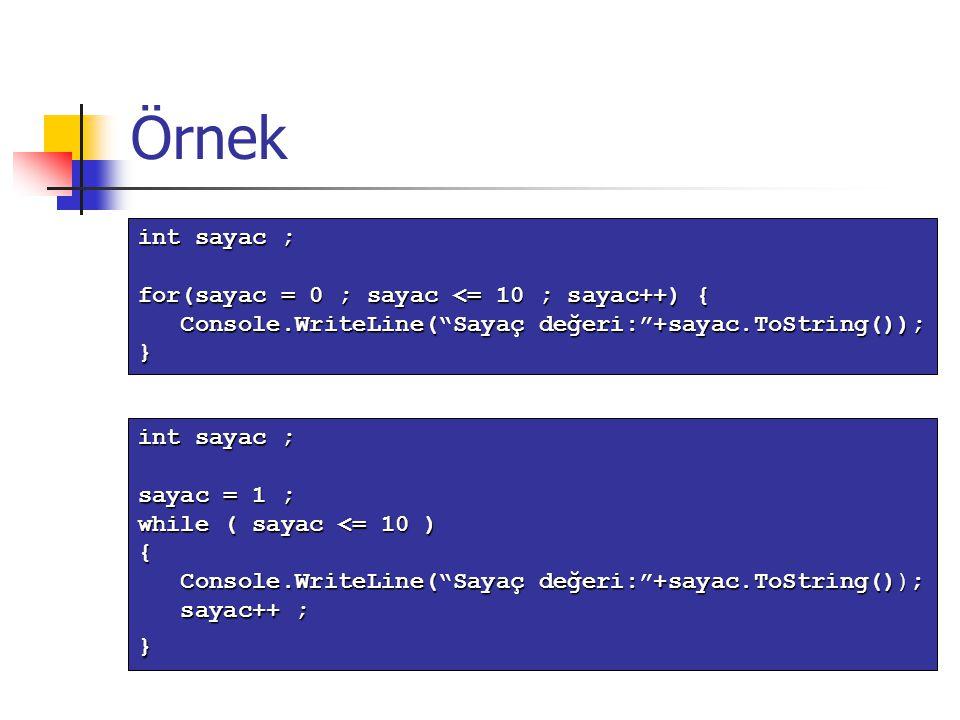 """Örnek int sayac ; sayac = 1 ; while ( sayac <= 10 ) { Console.WriteLine(""""Sayaç değeri:""""+sayac.ToString()); Console.WriteLine(""""Sayaç değeri:""""+sayac.ToS"""