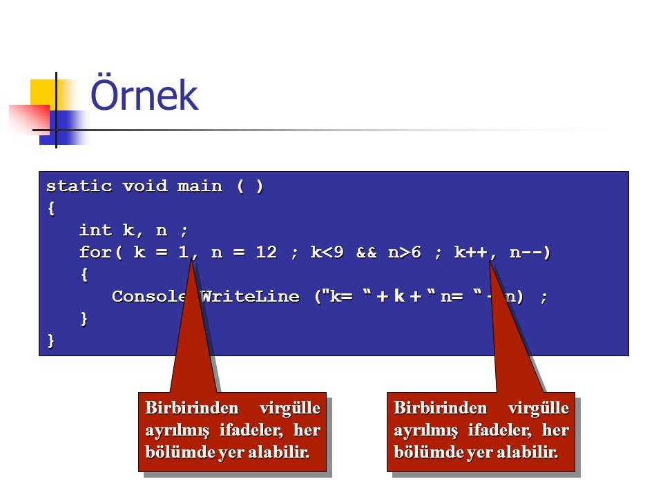 Örnek static void main ( ) { int k, n ; int k, n ; for( k = 1, n = 12 ; k 6 ; k++, n--) for( k = 1, n = 12 ; k 6 ; k++, n--) { Console.WriteLine (