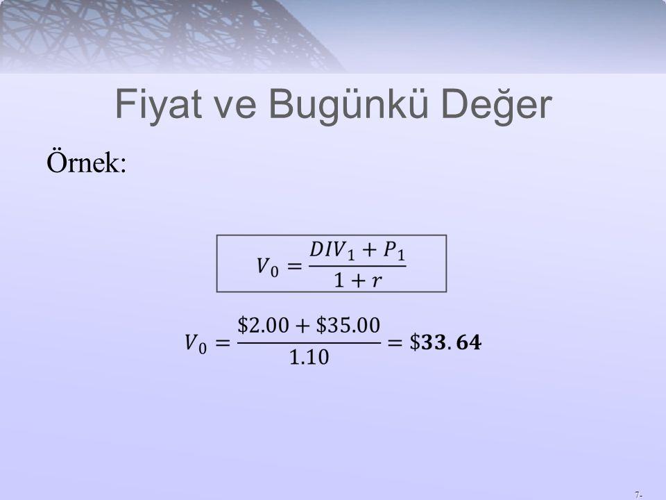 7- Örnek: Fiyat ve Bugünkü Değer
