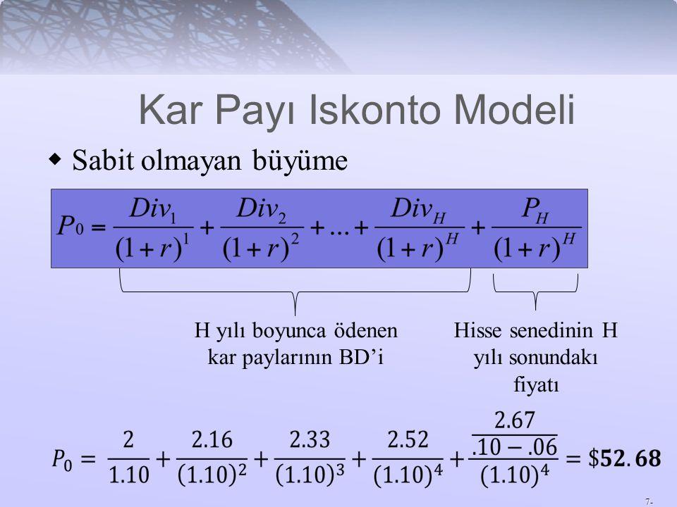 7-  Sabit olmayan büyüme H yılı boyunca ödenen kar paylarının BD'i Hisse senedinin H yılı sonundakı fiyatı Kar Payı Iskonto Modeli