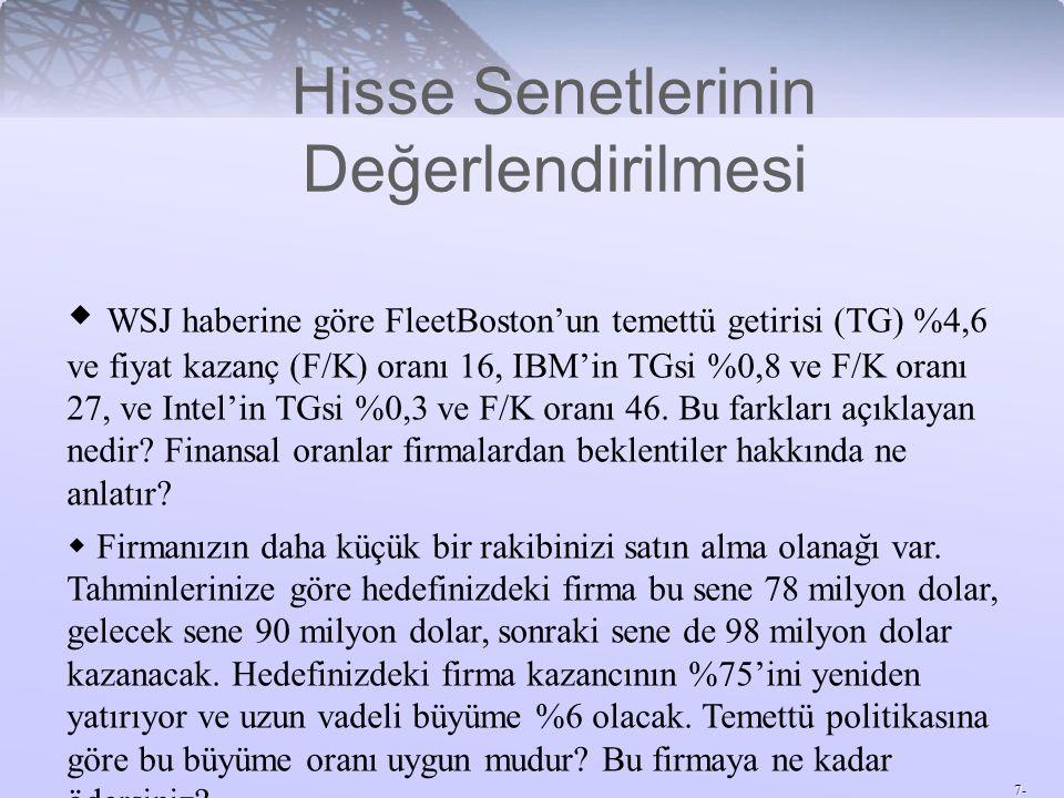 7- Hisse Senetlerinin Değerlendirilmesi  WSJ haberine göre FleetBoston'un temettü getirisi (TG) %4,6 ve fiyat kazanç (F/K) oranı 16, IBM'in TGsi %0,8 ve F/K oranı 27, ve Intel'in TGsi %0,3 ve F/K oranı 46.