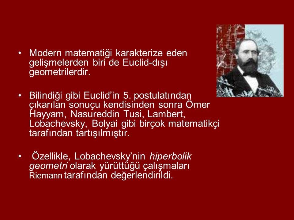 Modern matematiği karakterize eden gelişmelerden biri de Euclid-dışı geometrilerdir.
