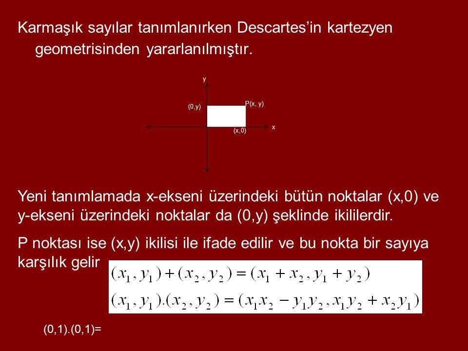 Karmaşık sayılar tanımlanırken Descartes'in kartezyen geometrisinden yararlanılmıştır.