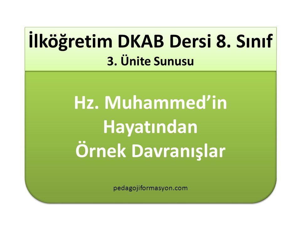 8.Sınıf 3.Ünite Hz. Muhammed' in Hayatındaki Örnek Davranışlar Konular : Konular 1.
