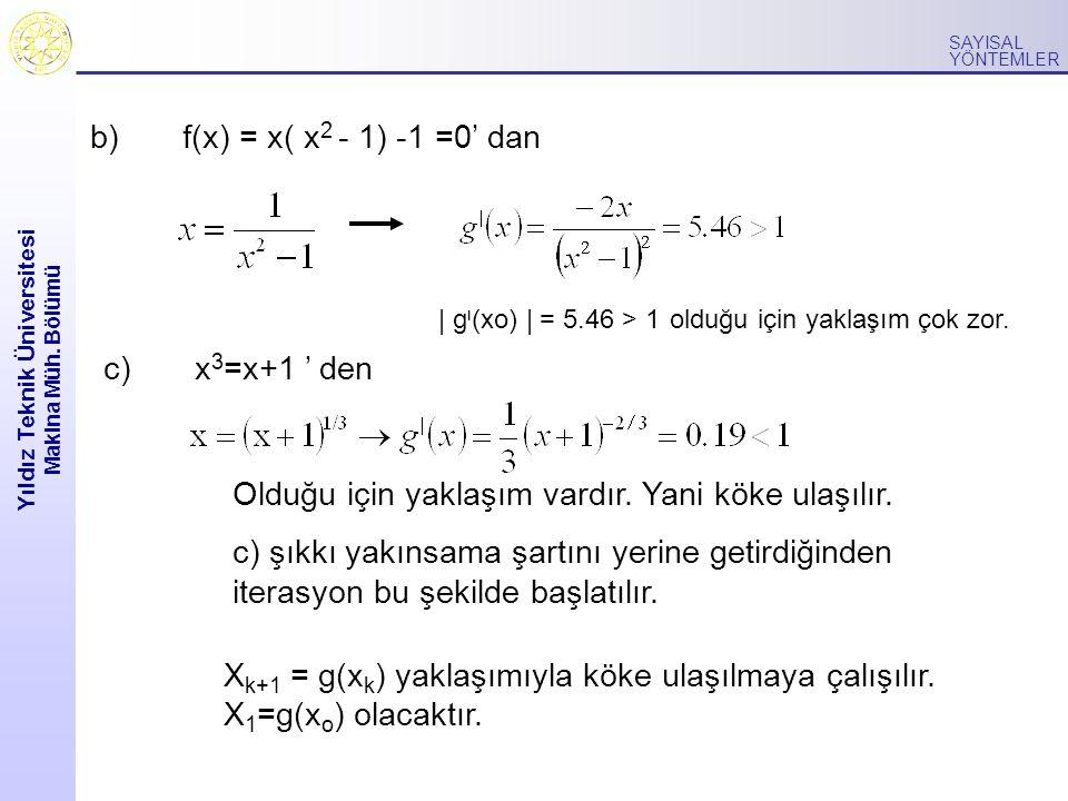 Yıldız Teknik Üniversitesi Makina Müh. Bölümü SAYISAL YÖNTEMLER b) f(x) = x( x 2 - 1) -1 =0' dan c) x 3 =x+1 ' den Olduğu için yaklaşım vardır. Yani k