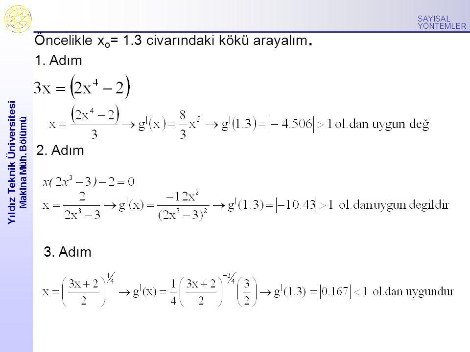 Yıldız Teknik Üniversitesi Makina Müh. Bölümü SAYISAL YÖNTEMLER Öncelikle x o = 1.3 civarındaki kökü arayalım. 1. Adım 3. Adım 2. Adım