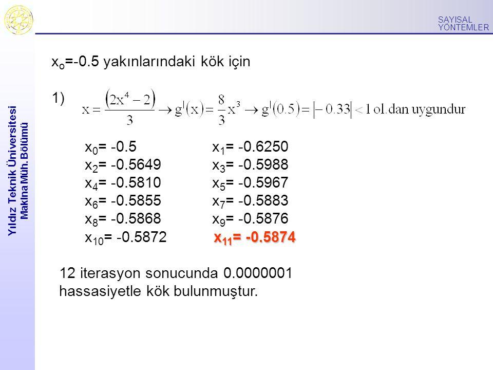 Yıldız Teknik Üniversitesi Makina Müh. Bölümü SAYISAL YÖNTEMLER x o =-0.5 yakınlarındaki kök için 1) x 0 = -0.5 x 1 = -0.6250 x 2 = -0.5649 x 3 = -0.5