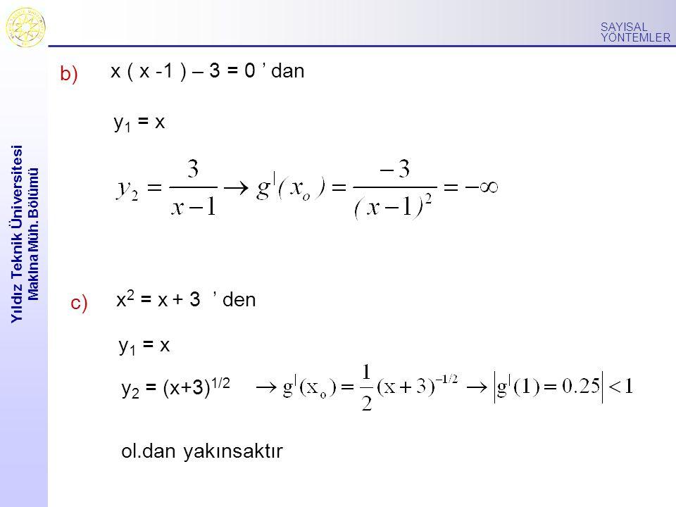 Yıldız Teknik Üniversitesi Makina Müh. Bölümü SAYISAL YÖNTEMLER b) y 1 = x x 2 = x + 3 ' den y 2 = (x+3) 1/2 x ( x -1 ) – 3 = 0 ' dan y 1 = x c) ol.da