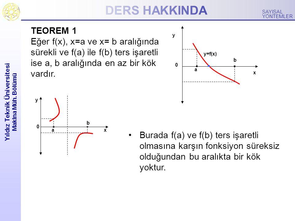 DERS HAKKINDA Yıldız Teknik Üniversitesi Makina Müh. Bölümü SAYISAL YÖNTEMLER TEOREM 1 Eğer f(x), x=a ve x= b aralığında sürekli ve f(a) ile f(b) ters