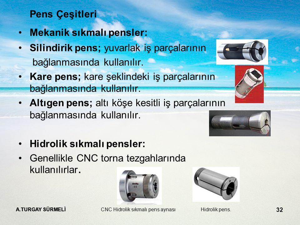 A.TURGAY SÜRMELİ 32 Pens Çeşitleri Mekanik sıkmalı pensler: Silindirik pens; yuvarlak iş parçalarının bağlanmasında kullanılır. Kare pens; kare şeklin