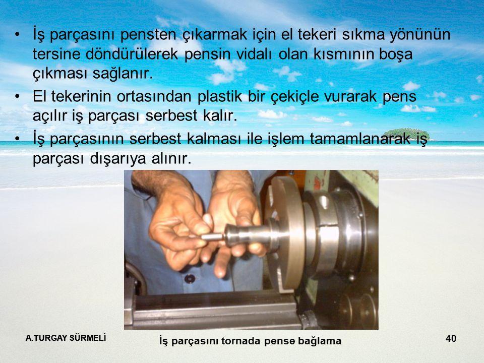 A.TURGAY SÜRMELİ 40 İş parçasını pensten çıkarmak için el tekeri sıkma yönünün tersine döndürülerek pensin vidalı olan kısmının boşa çıkması sağlanır.