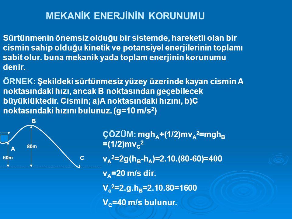 MEKANİK ENERJİNİN KORUNUMU Sürtünmenin önemsiz olduğu bir sistemde, hareketli olan bir cismin sahip olduğu kinetik ve potansiyel enerjilerinin toplamı sabit olur.
