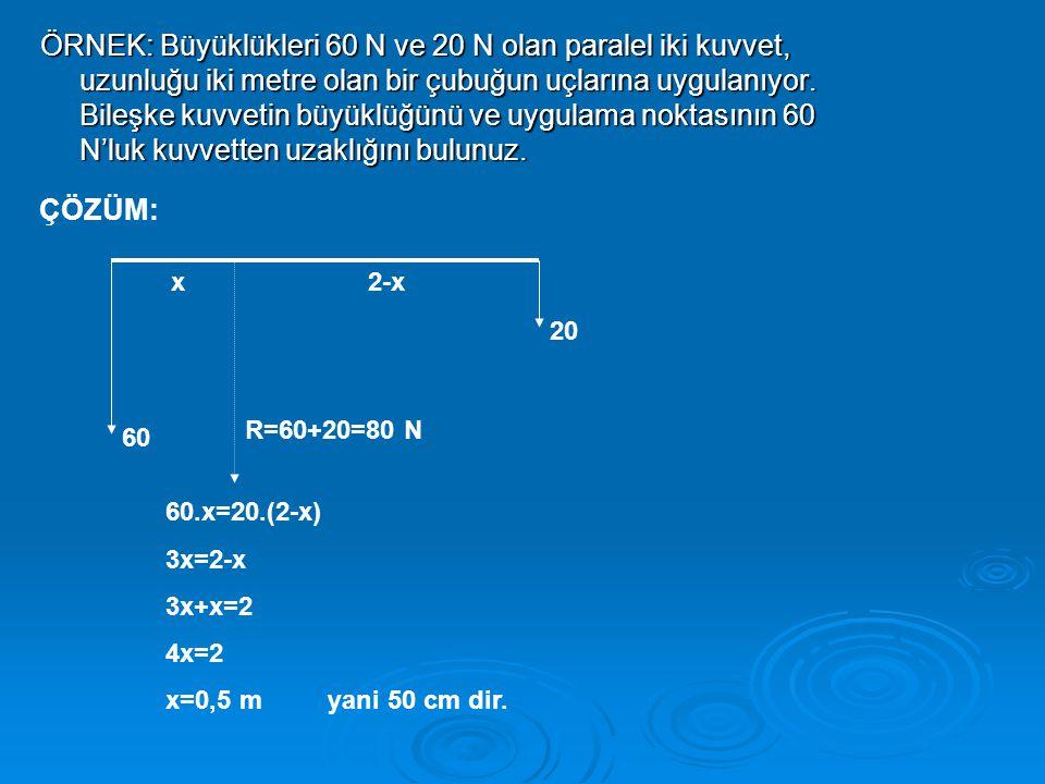 ÖRNEK: Büyüklükleri 60 N ve 20 N olan paralel iki kuvvet, uzunluğu iki metre olan bir çubuğun uçlarına uygulanıyor.