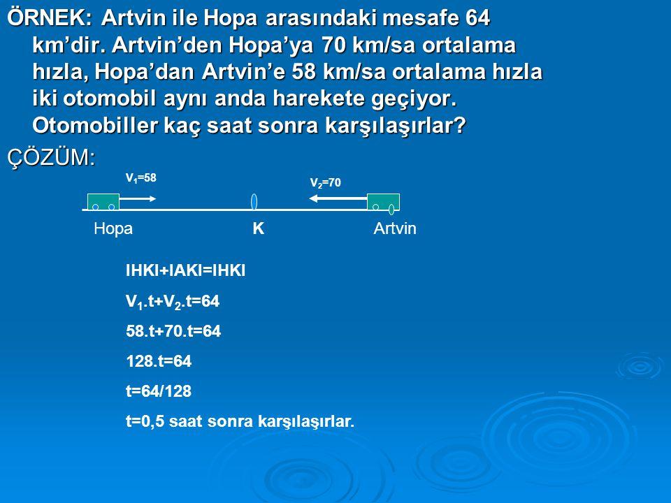 ÖRNEK: Artvin ile Hopa arasındaki mesafe 64 km'dir.