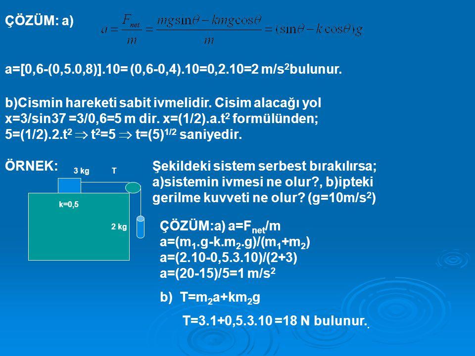 ÇÖZÜM: a) a=[0,6-(0,5.0,8)].10= (0,6-0,4).10=0,2.10=2 m/s 2 bulunur.