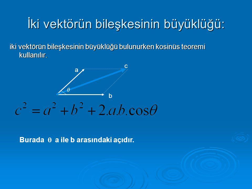 İki vektörün bileşkesinin büyüklüğü: iki vektörün bileşkesinin büyüklüğü bulunurken kosinüs teoremi kullanılır.