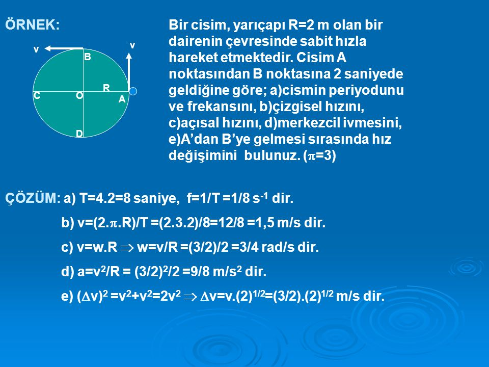 ÖRNEK: v v A B C D R O Bir cisim, yarıçapı R=2 m olan bir dairenin çevresinde sabit hızla hareket etmektedir.