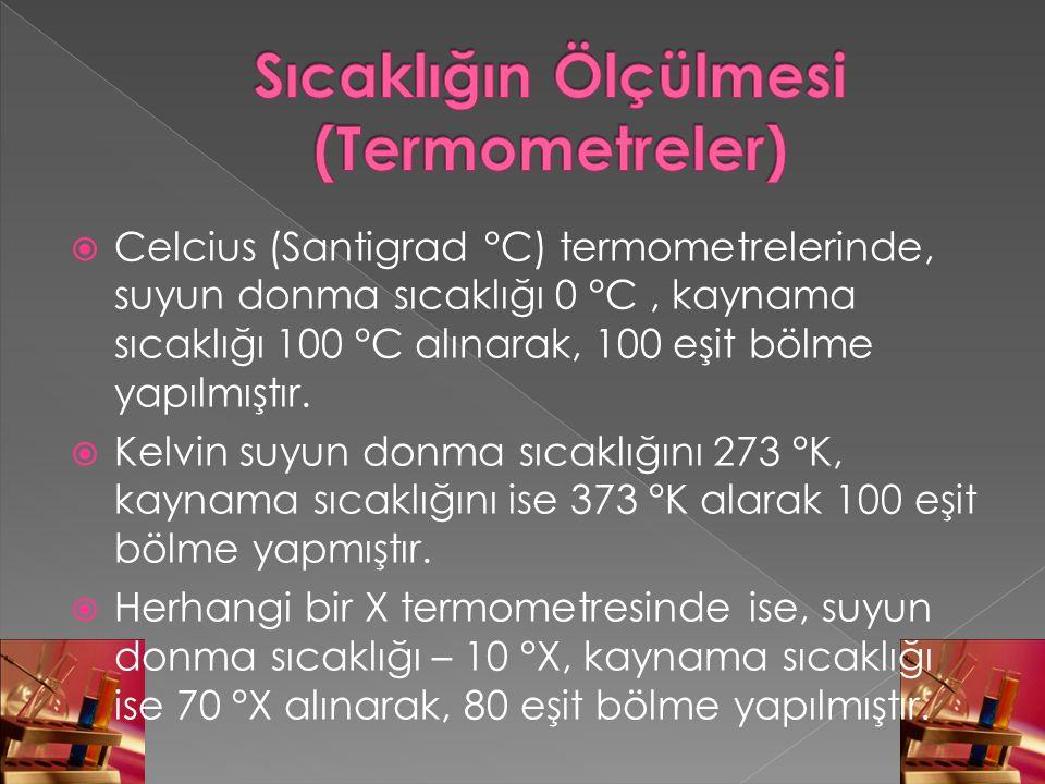  Celcius (Santigrad °C) termometrelerinde, suyun donma sıcaklığı 0 °C, kaynama sıcaklığı 100 °C alınarak, 100 eşit bölme yapılmıştır.  Kelvin suyun
