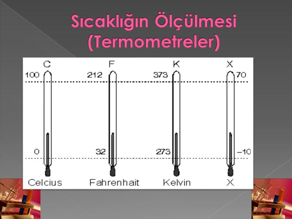  Termometrelerdeki sıcaklık değerlerini birbirine dönüştürmek için,eşitlikleri kullanılabilir.