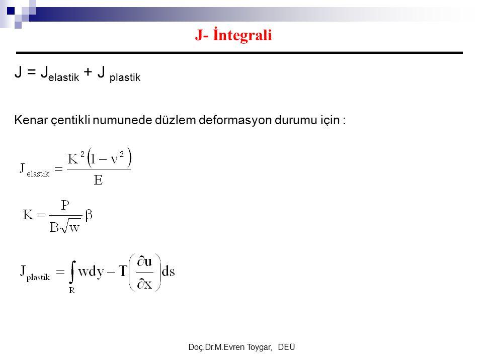 Doç.Dr.M.Evren Toygar, DEÜ J- İntegrali J = J elastik + J plastik Kenar çentikli numunede düzlem deformasyon durumu için :