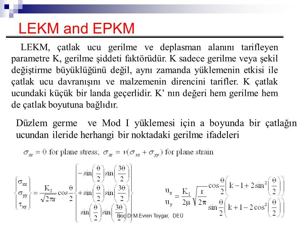 Doç.Dr.M.Evren Toygar, DEÜ LEKM and EPKM LEKM, çatlak ucu gerilme ve deplasman alanını tarifleyen parametre K, gerilme şiddeti faktörüdür. K sadece ge