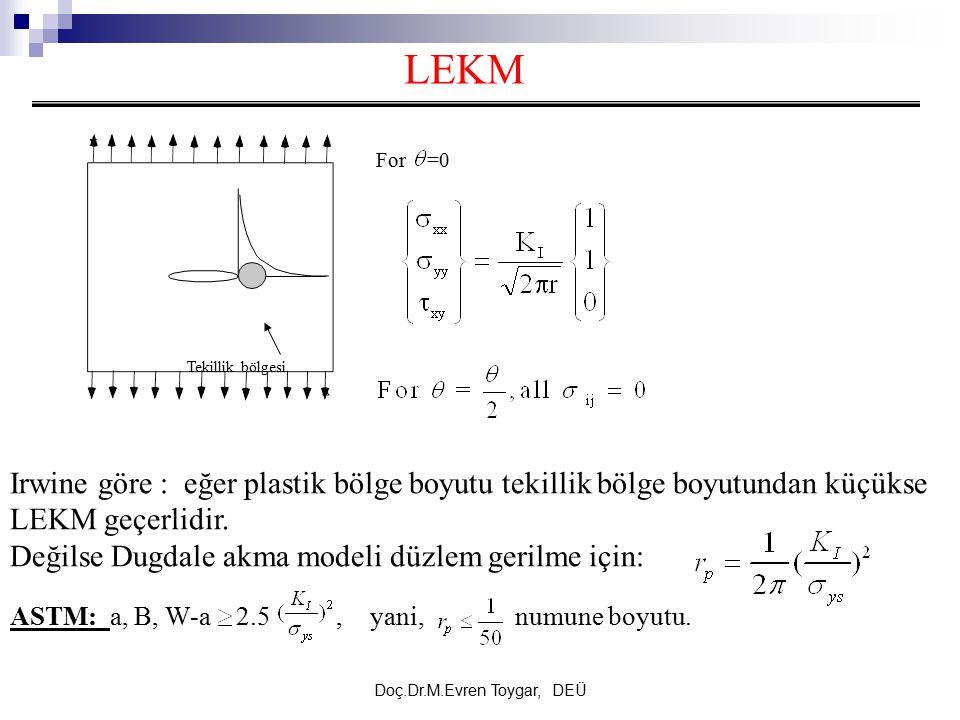 Doç.Dr.M.Evren Toygar, DEÜ Irwine göre : eğer plastik bölge boyutu tekillik bölge boyutundan küçükse LEKM geçerlidir. Değilse Dugdale akma modeli düzl