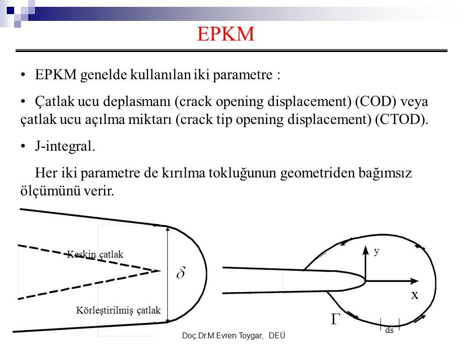 Doç.Dr.M.Evren Toygar, DEÜ EPKM EPKM genelde kullanılan iki parametre : Çatlak ucu deplasmanı (crack opening displacement) (COD) veya çatlak ucu açılm