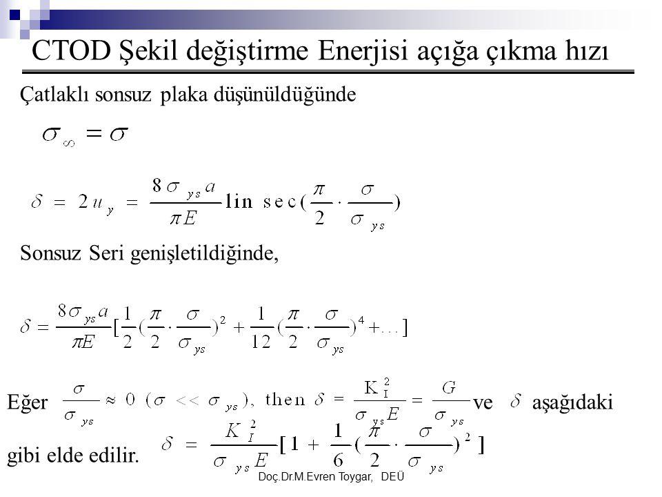 Doç.Dr.M.Evren Toygar, DEÜ CTOD Şekil değiştirme Enerjisi açığa çıkma hızı Çatlaklı sonsuz plaka düşünüldüğünde Sonsuz Seri genişletildiğinde, Eğer ve