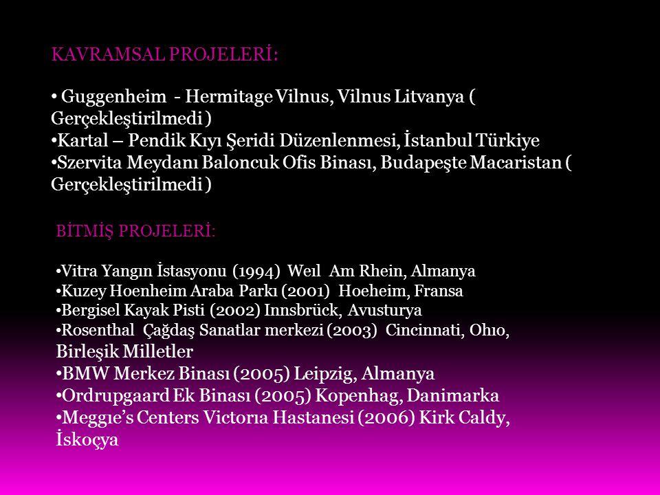 KAVRAMSAL PROJELERİ: Guggenheim - Hermitage Vilnus, Vilnus Litvanya ( Gerçekleştirilmedi ) Kartal – Pendik Kıyı Şeridi Düzenlenmesi, İstanbul Türkiye