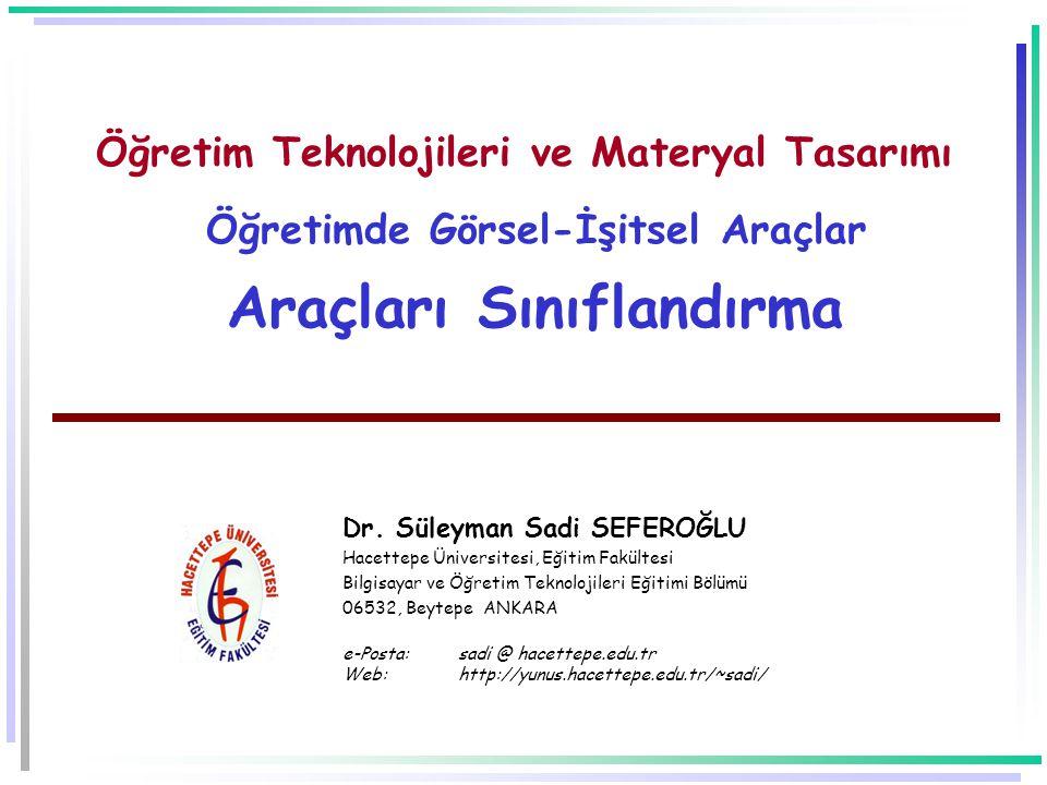 Öğretim Teknolojileri ve Materyal Tasarımı Öğretimde Görsel-İşitsel Araçlar Araçları Sınıflandırma Dr.
