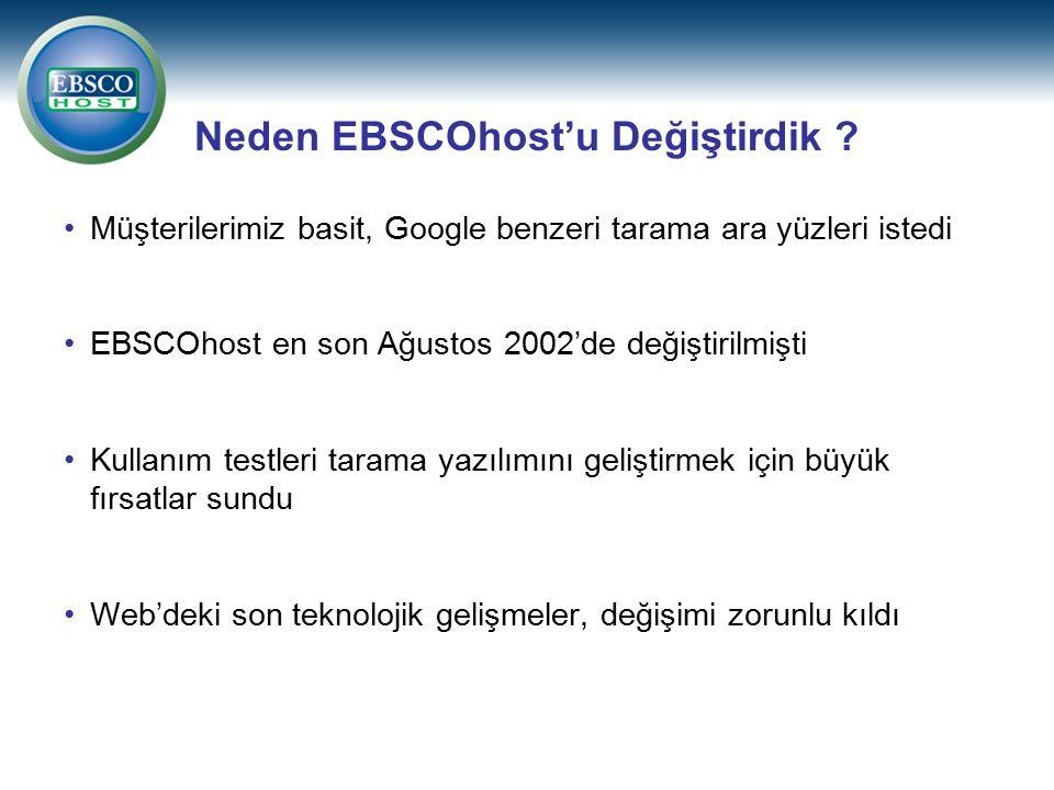 Neden EBSCOhost'u Değiştirdik ? Müşterilerimiz basit, Google benzeri tarama ara yüzleri istedi EBSCOhost en son Ağustos 2002'de değiştirilmişti Kullan