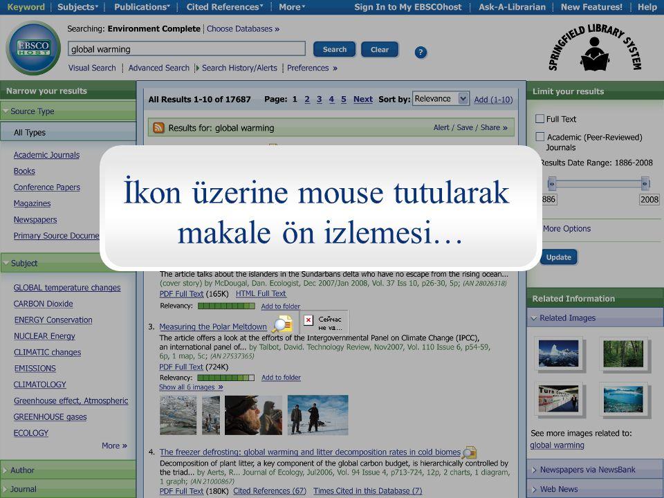 İkon üzerine mouse tutularak makale ön izlemesi…
