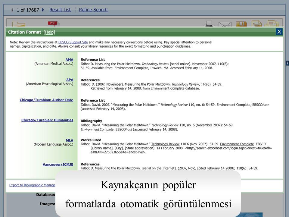 Kaynakçanın popüler formatlarda otomatik görüntülenmesi