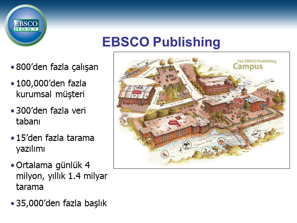 800'den fazla çalışan 100,000'den fazla kurumsal müşteri 300'den fazla veri tabanı 15'den fazla tarama yazılımı Ortalama günlük 4 milyon, yıllık 1.4 milyar tarama 35,000'den fazla başlık EBSCO Publishing