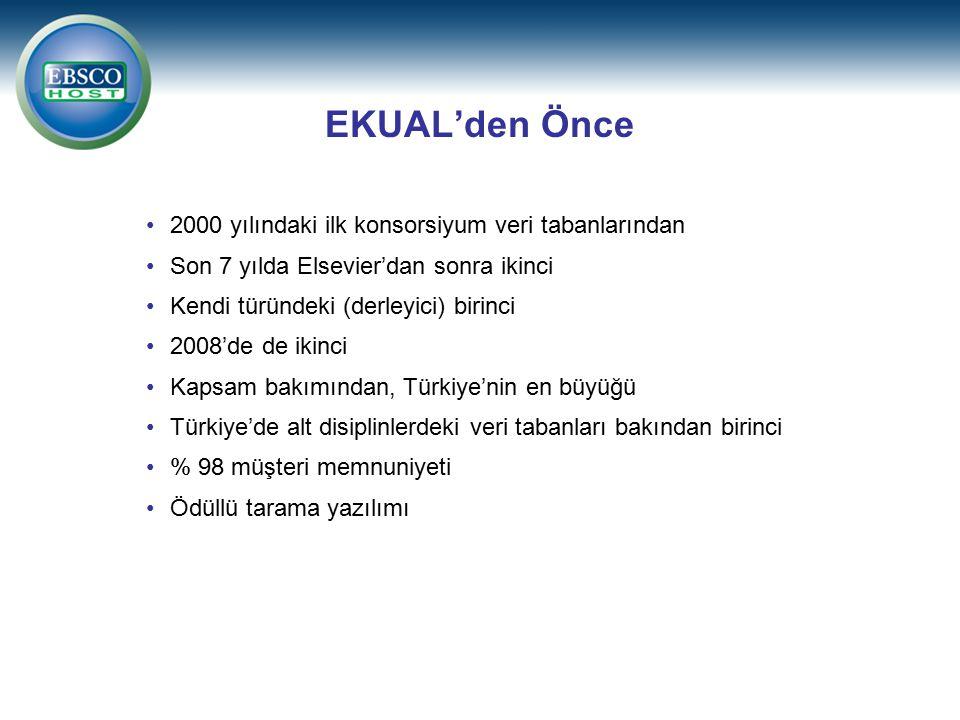 2000 yılındaki ilk konsorsiyum veri tabanlarından Son 7 yılda Elsevier'dan sonra ikinci Kendi türündeki (derleyici) birinci 2008'de de ikinci Kapsam bakımından, Türkiye'nin en büyüğü Türkiye'de alt disiplinlerdeki veri tabanları bakından birinci % 98 müşteri memnuniyeti Ödüllü tarama yazılımı EKUAL'den Önce