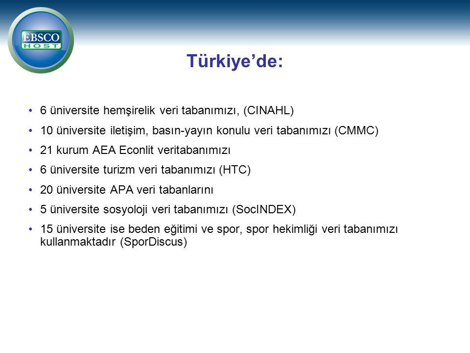 6 üniversite hemşirelik veri tabanımızı, (CINAHL) 10 üniversite iletişim, basın-yayın konulu veri tabanımızı (CMMC) 21 kurum AEA Econlit veritabanımızı 6 üniversite turizm veri tabanımızı (HTC) 20 üniversite APA veri tabanlarını 5 üniversite sosyoloji veri tabanımızı (SocINDEX) 15 üniversite ise beden eğitimi ve spor, spor hekimliği veri tabanımızı kullanmaktadır (SporDiscus) Türkiye'de: