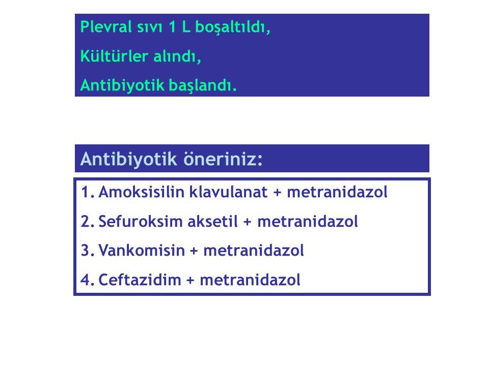 1.Amoksisilin klavulanat + metranidazol 2.Sefuroksim aksetil + metranidazol 3.Vankomisin + metranidazol 4.Ceftazidim + metranidazol Antibiyotik önerin